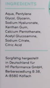 Cosphera Hyaluron Serum Test - Inhaltsstoffe - INCI-Liste