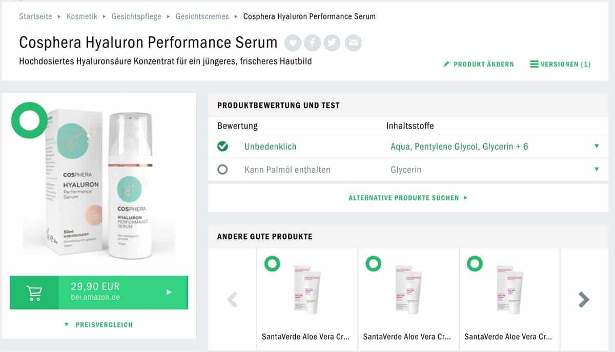 Cosphera Hyaluron Serum Test Codecheck Hyaluron Serum Test
