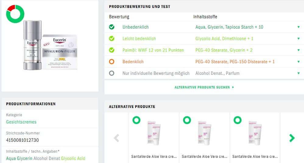 Eucerin Hyaluron Filler Produktberwertung Codecheck
