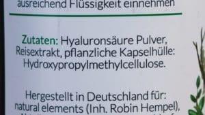 Natural Elements Hyaluron Kapseln Inhaltsstoffe - Beitragsbild 2