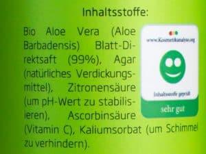 Seven Minerals Aloe Vera Gel Inhaltsstoffe - Beitragsbild 2