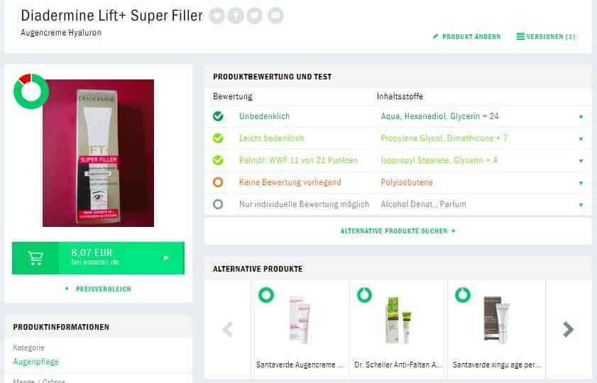 Diadermine Lift Plus Hyaluron Augencreme Produktberwertung Codecheck