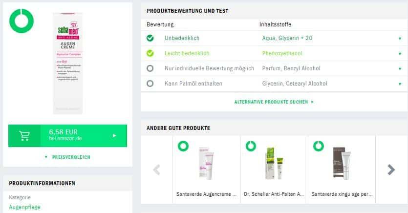 Sebamed Augencreme Produktberwertung Codecheck