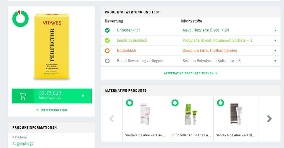 Vitayes Perfector Augencreme Produktberwertung Codecheck